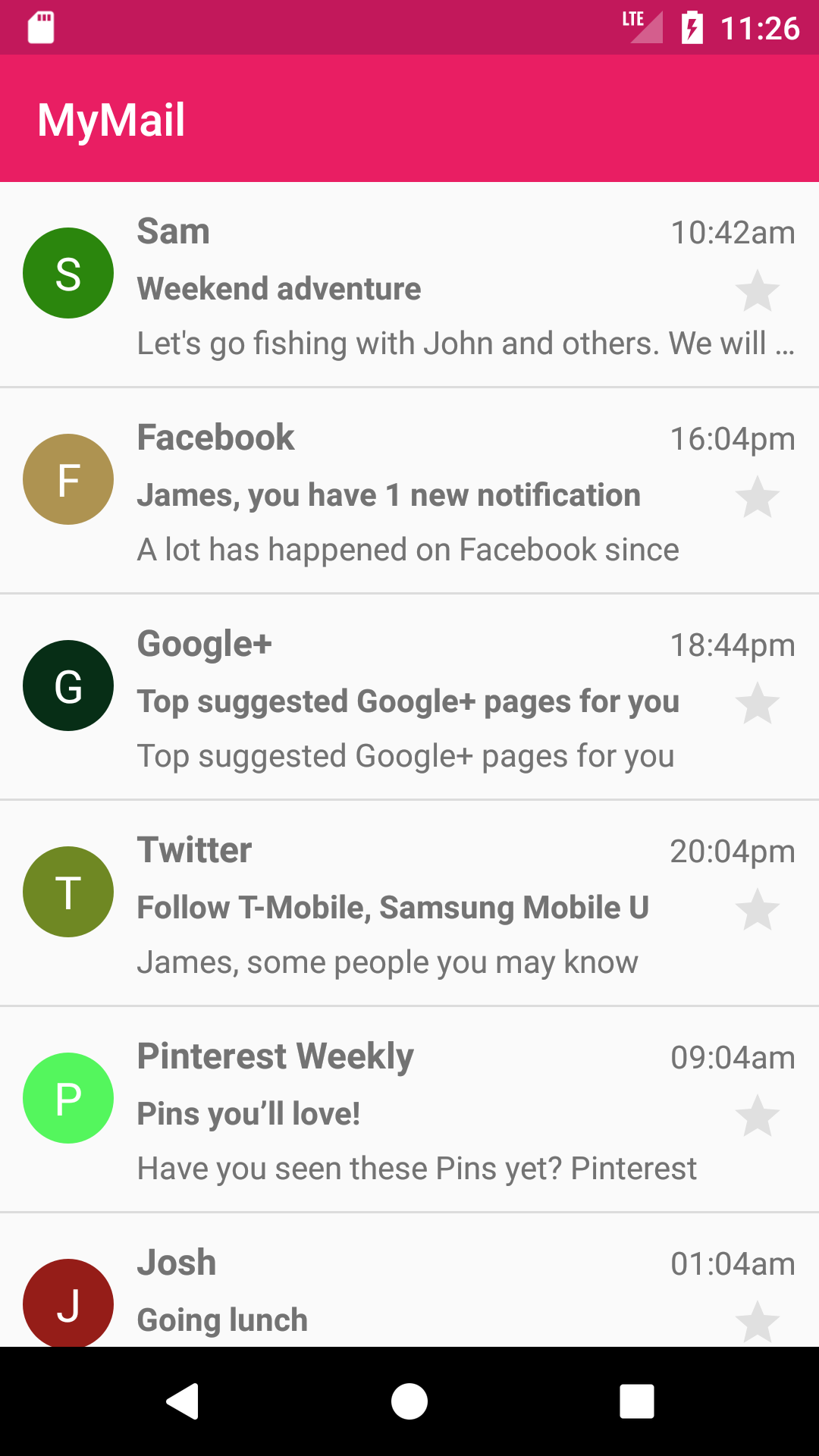 Android Recyclerview Example - Show List of Emails Using