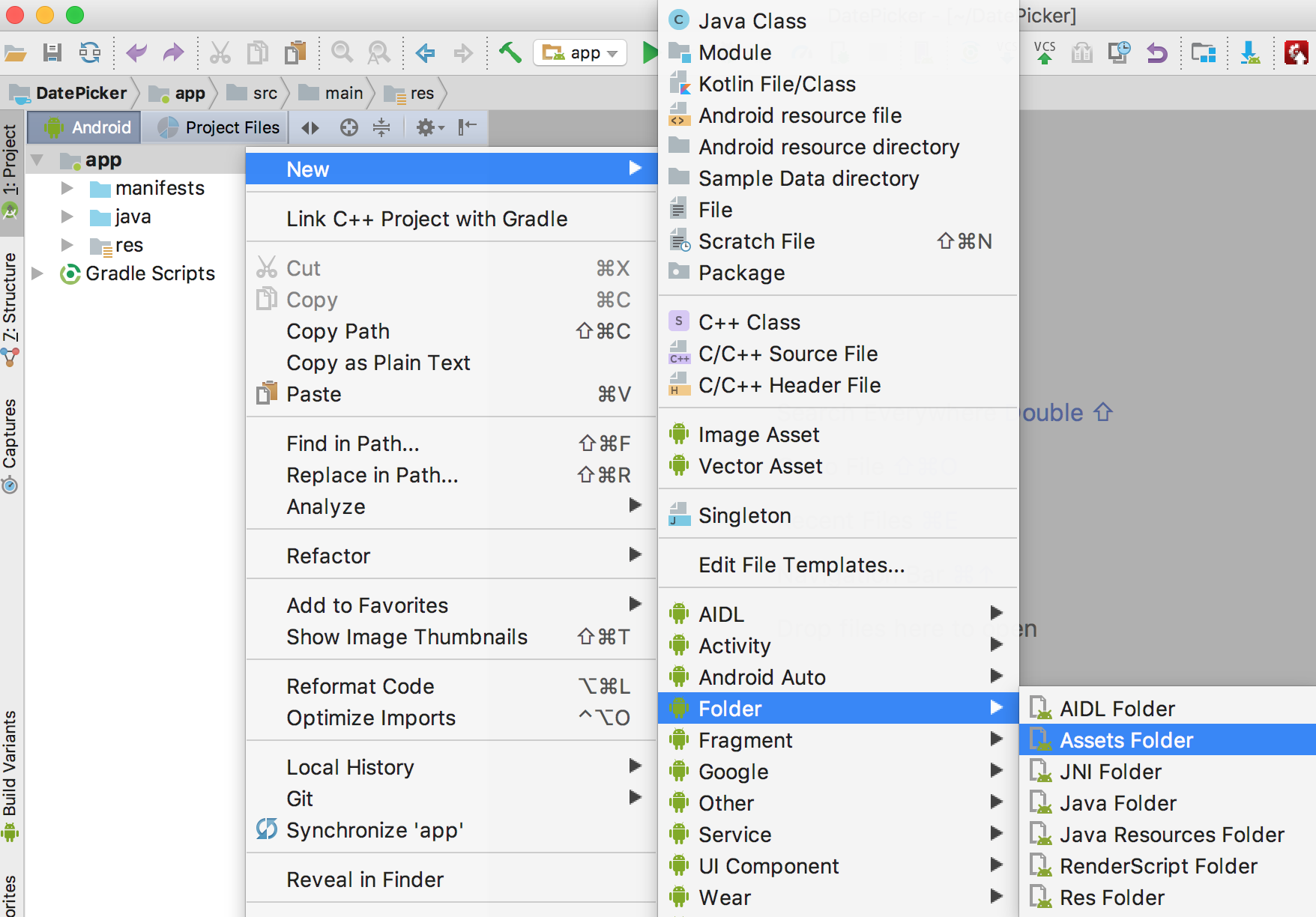 How to Create Android Assets Folder in Android Studio